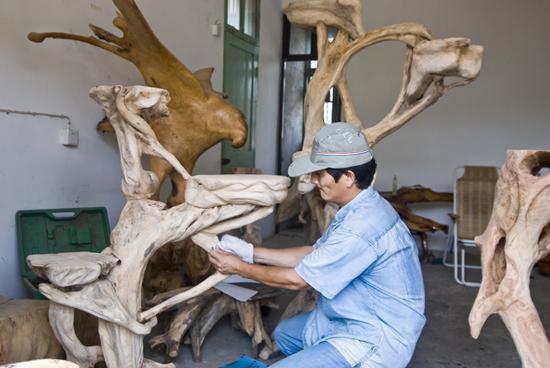 """观察加工成为一种特殊的传统艺术品,称为""""树根雕刻"""",简称根雕."""